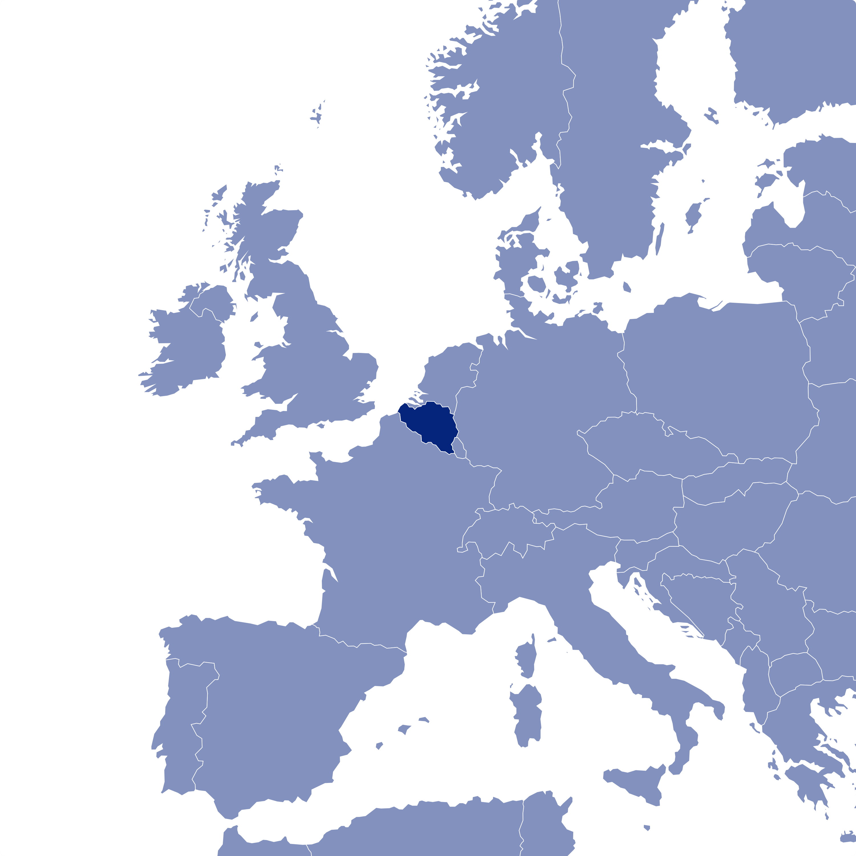 Country marked on Europe's map